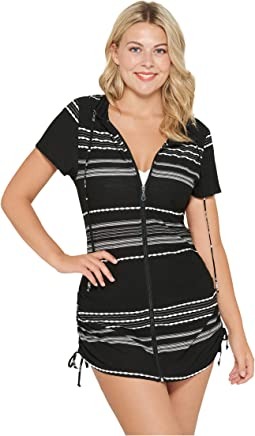 Dahlia Stripe Zip Front Hoodie Dress Cover-Up