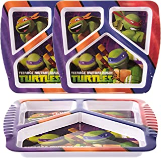 Zak (3 Pack) Teenage Mutant Ninja Turtles Character BPA-Free Plastic 3-Section Divided Kids Plates