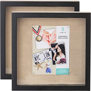 UMICAL 2 Pack - 11x11 Shadow Box Display Case Black Wooden Shadow Box Frame with Linen Board and Stick Pins Memorabilia Aw...