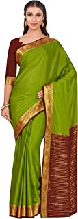 MIMOSA Women's Kanchipuram Crepe Saree With Unstitched Blouse Piece (4320-2262-2D-OLV-CHO_Green)