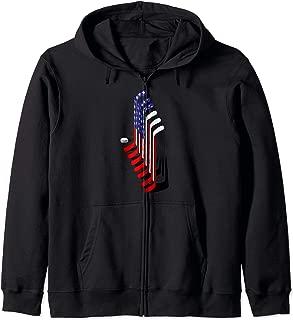 Ice Hockey, American Hockey Flag Sport Player Gift Zip Hoodie