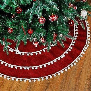 Staraise Christmas Tree Skirt 47 Inch Red Linen Xmas Tree Skirts with Pom Pom for Christmas Decorations