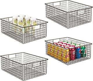 mDesign panier de rangement polyvalent en métal (lot de 4) – boîte de rangement flexible pour la cuisine, le garde-manger,...