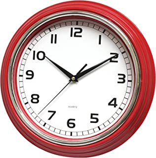 May Gifts 12 Inch Quartz Decorative Wall Clock Silent Non Ticking - Ideal for Kitchen, Living Room, Office - Red