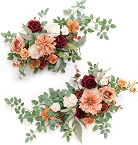 Ling's moment 2pcs Artificial Floral Swags Centerpieces, Wedding Flower Greenery Arrangements for Sweetheart/ Head Table Decor Wedding Car Wall Window Arch Home Garden Decor Amber