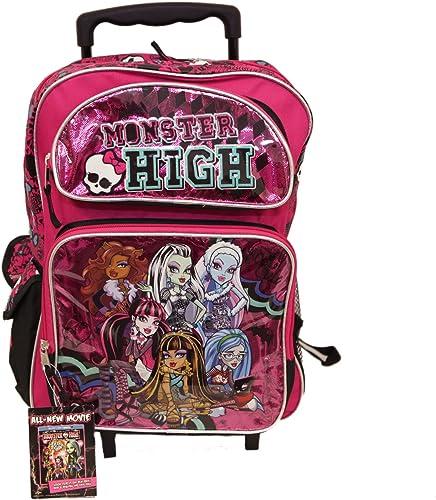 Größem Rolling Rucksack Monster High Varsity Team Rosa SchwarzNew 098739
