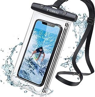 TORRAS 防水ケース 改良 スマホ用 全面クリア 押し易いサイドボタン IPX8認証 顔認証 撮影 通話 タッチ快適 iPhone 12 Pro Max 11 XR SE 6.9インチ以下対応 海 水中 温泉 風呂 キッチン プール ブラック