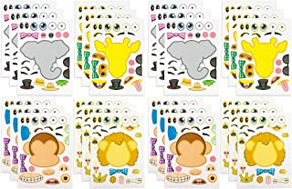 Kicko Make-A-Zoo Animal Sticker Sheets - 24 Pack - for Kids, Arts, Parties, Birthdays, Party Favors, Crafts, School, Daycare, Etc.