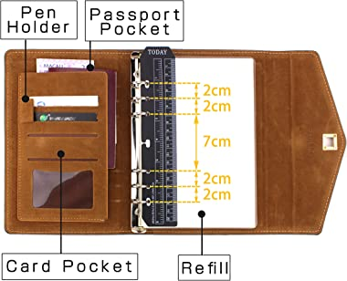 """SynLiZy A5 PU Leather Personal Organizer Undated Planner 7.3"""" x 9.06"""" with 12 Accessories,Thick Paper,Refillable Loos"""