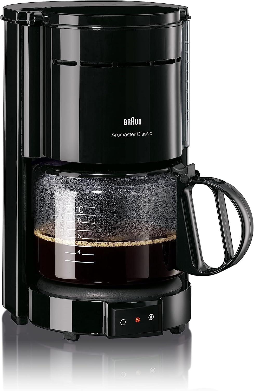 Braun 0X13211003 Cafetera de goteo independiente, 1000 W, 1.2 L, 10 cups, 20 dB, acero inoxidable, negro