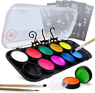 Face Paint Kit for Adults & Kids | 12 Extra-Large Professional Grade Colors by festiFACE | Perfect for Halloween | Includes 4 UV Black Light Neons, Stencils and Brushes