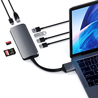 Satechi アルミニウム Type-C デュアル マルチメディア アダプター デュアル 4K HDMI, USB C PD, ギガビットイーサネット, Micro/SD カードリーダー, USB 3.0 (2019 MacBook Pro, 2018 MacBook Air, 2018 Mac Mini対応) (スペースグレイ)