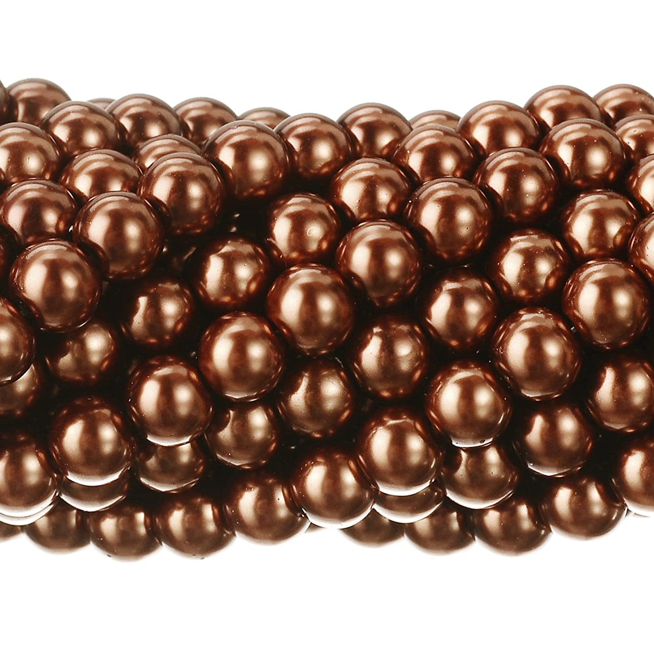 RUBYCA 200Pcs Czech Tiny Satin Luster Glass Pearl Round Beads DIY Jewelry Making 6mm Copper Brown