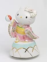 取寄品:1週間前後 和装 ハローキティ 陶製レース人形 オルゴール SR-2403P(ピンク) 【 陶器 人形 】