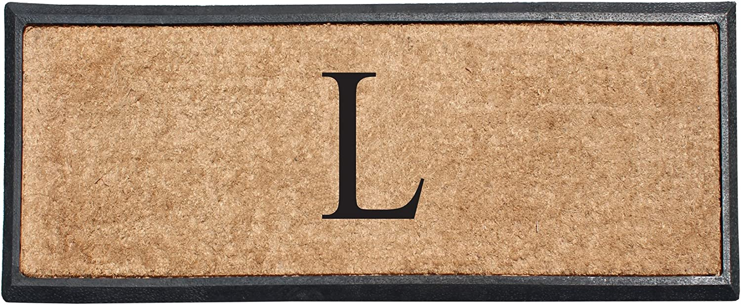 A1 HOME COLLECTIONS First Impression Rubber and Coir Molded Double Doormat, 16 x48 , Monogrammed L(MULD01L)