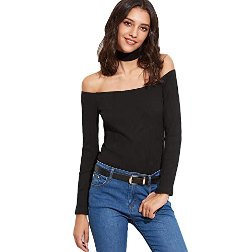 14a761189a SheIn Women's Black Off The Shoulder With Choker Ribbed T-shirt Small Black