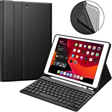 """Fintie Keyboard Case for New iPad 7th Generation 10.2 Inch 2019, Soft TPU Back Stand Cover w/Built-in Pencil Holder, Magnetically Detachable Wireless Bluetooth Keyboard for iPad 10.2"""", Black"""