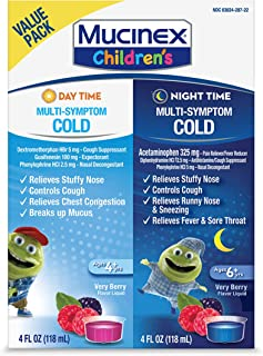 Cold & Cough, Mucinex Children's Multi-Symptom Day/Night Liquid, Very Berry, 8oz (2x4oz) Relieves Nasal & Chest Congestion...