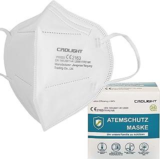 CRDLIGHT 25 Stück FFP2 Atemschutzmasken je Maske in PE-Folie Einzelverpackung