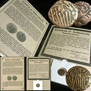 CHOLA DYNASTY COIN - Ancient India Rajaraja Bronze Coin from 85-1014 AD - Comes in folder with Certificate of Authenticity - FOUND IN A HOARD