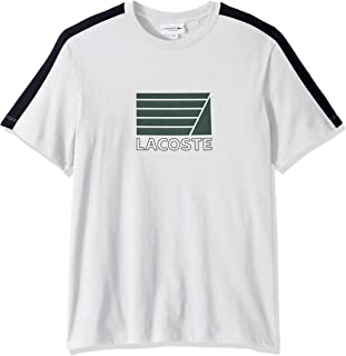 Lacoste Men's S/S Jersey with FRAPHIC ADJOVOKIC Stripe Sleeve T-Shirt Shirt, White/Navy Blue, XL