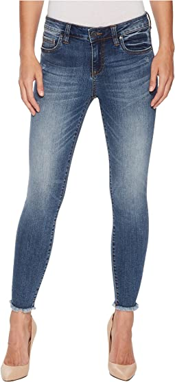 Connie Ankle Skinny Fray Hem Jeans in Guileless/Medium Base Wash