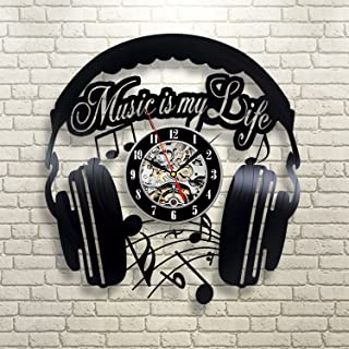 Music Is My Life Vinyl Record Wall Clock - Contemporary Music Fan Art - Get unique living room wall decor - Gift Ideas for his and her