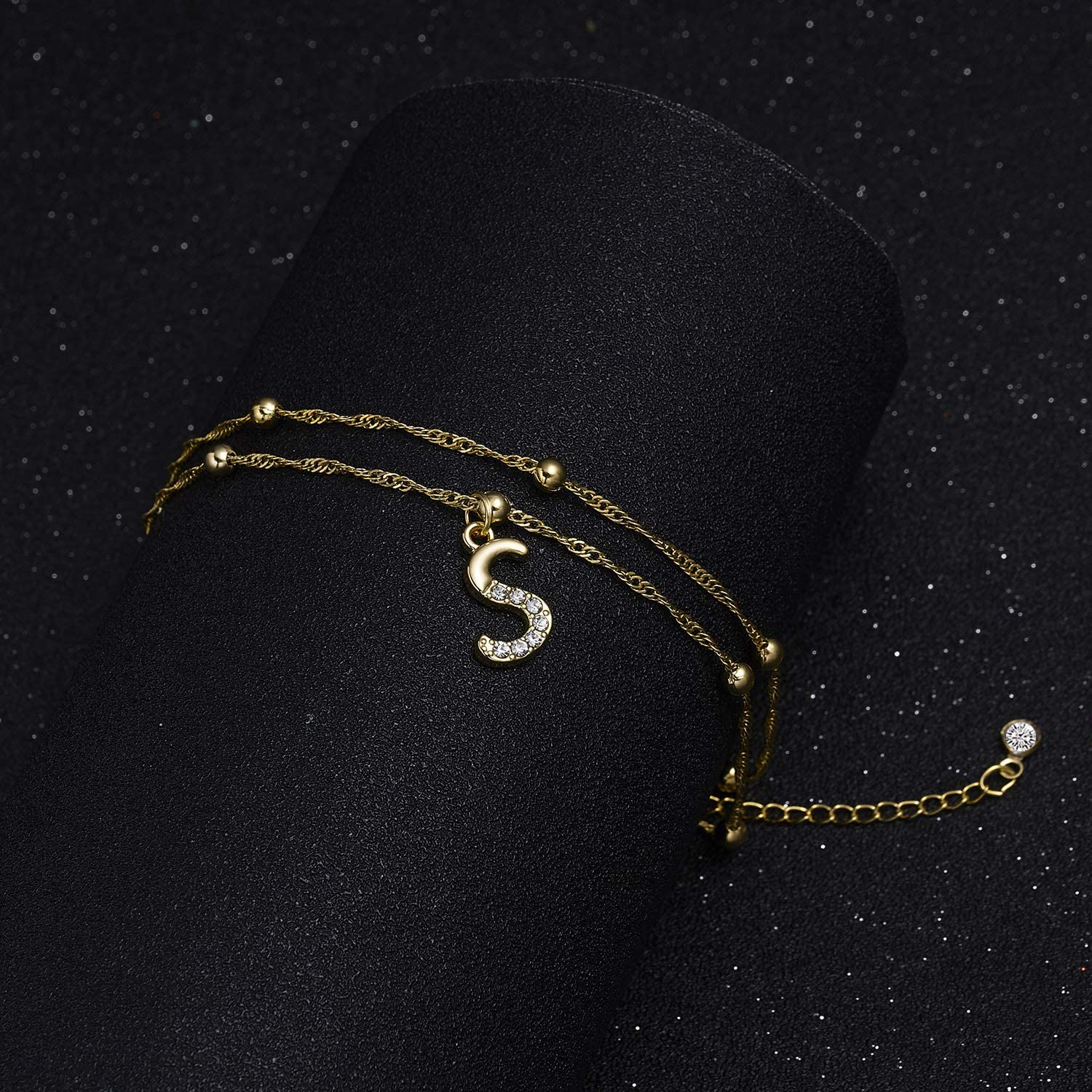 RINHOO Initial Ankle Bracelets 14K Gold Plated Crystal Double Layered Beaded A-Z Alphabet Ankle Bracelets for Women Teen Girls Jewelry