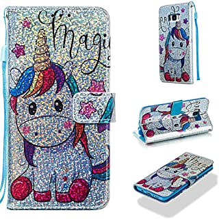 Case for Galaxy S8+/S8 Plus,Slim Wallet Case Bling Glitter PU Leather Wallet Case Card Holder Shock Absorbent Wrist Strap Kickstand Flip Folio Case Compatible with Samsung Galaxy S8+/S8 Plus -Horse