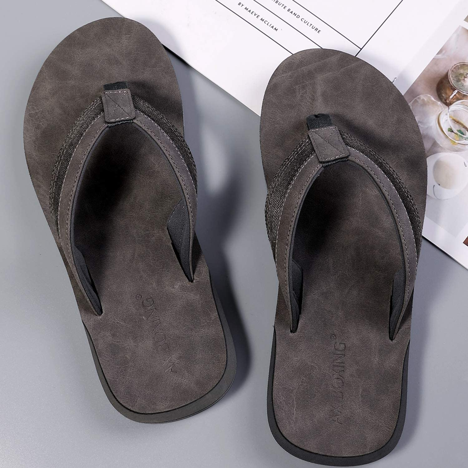 AX BOXING Men's Thong Sandals Flip Flops with Arch Support Outdoor Athletic Slide(Gray, Numeric_11)