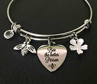 Friends Personalized Cherry Blossom Bee Bracelet - Recovery Motivation Jewelry- College Student Gift