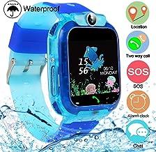 SZBXD Kids Waterproof Smart Watch Phone, LBS/GPS Tracker Touchscreen Smartwatch Games SOS Alarm Clock Camera Smart Watch Christmas Birthday Gifts for School Boy Girls (Light Blue)