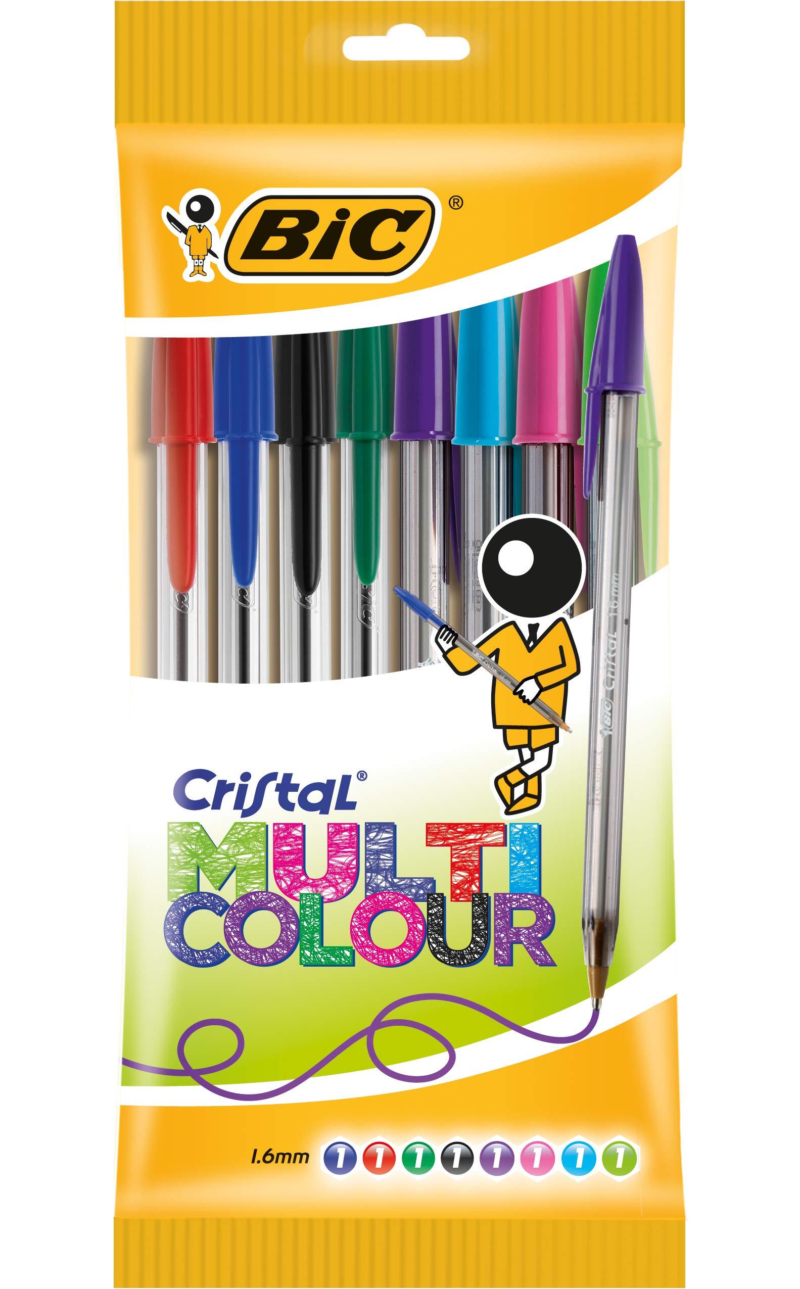 BIC Cristal Multicolor - Caja de 8 bolígrafos, colores fashion y ...