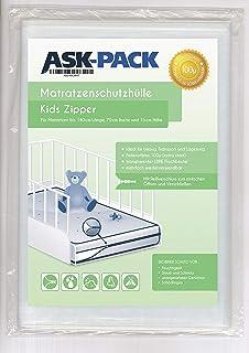 ASK Pack Premium - Funda protectora para colchón infantil con cierre de cremallera para colchones de 70 cm de ancho / hasta 15 cm de alto / 140 cm de largo - Extra fuerte 100μ