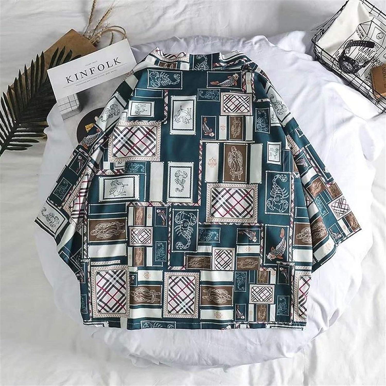 SHUYANshiyu Japanese Ukiyo-e Robe Coat Men's Seven-Point Sleeve Kimono Print Shirt (Color : Green, Size : XL)