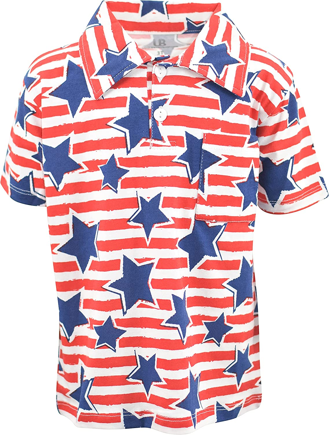 Unique Baby Boys Patrotic Star Stripes 4th of July Polo Shirt