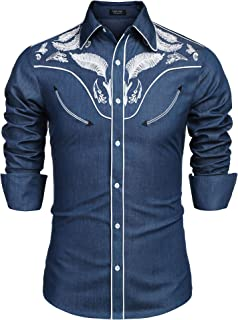 COOFANDY Men's Western Cowboy Embroidered Long Sleeve Button Down Shirt