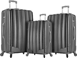 Rockland Barcelona 3 PC/ABS 6 PC Juego de viaje y funda para equipaje, Negro, Una talla
