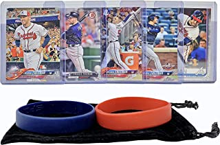 Freddie Freeman Baseball Cards (5) ASSORTED Atlanta Braves Trading Card and Wristbands Gift Bundle