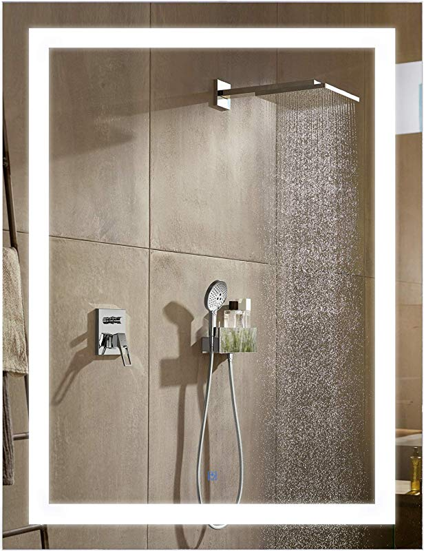 HomCom LED Wall Mount Bathroom Vanity Make Up Mirror W Defogger 32 X 24