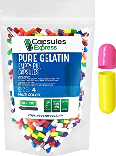 XPRS Nutra Size 4 Empty Capsules - 100 Count Colored Empty Gelatin Capsules - Capsules Express Empty Pill C...