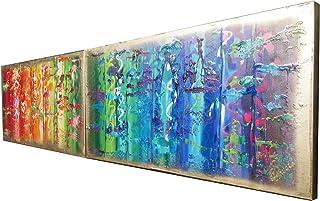 Arco iris y oro abstracto A566 - díptico colorido empaste arte, pinturas abstractas originales del artista Ksavera