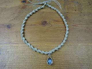 BEACH HEMP JEWELRY Mushroom Hemp Choker Necklace Periwinkle Blue Glass Pendant Handmade In USA