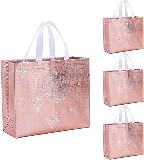 Gesodant Bling Glossy Glitter Durable Reusable Grocery Bag Tote Bag Handles Bag,Medium Non-woven Fashionable Present Bag G...