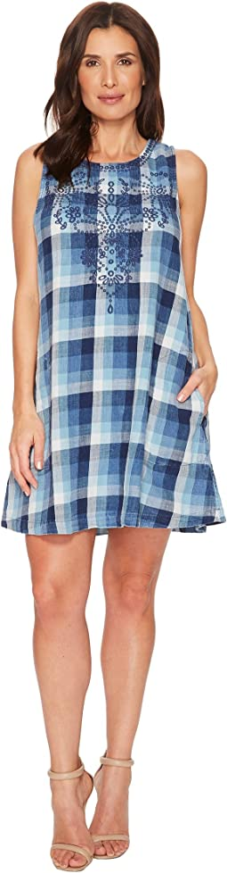 Stone Washed Indigo Plaid Embroidered A-Line Tank Dress