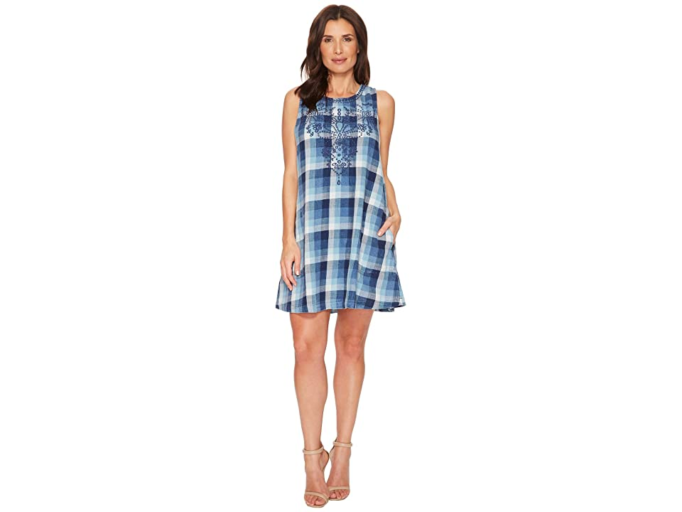 Mod-o-doc Stone Washed Indigo Plaid Embroidered A-Line Tank Dress (Multi Blue) Women