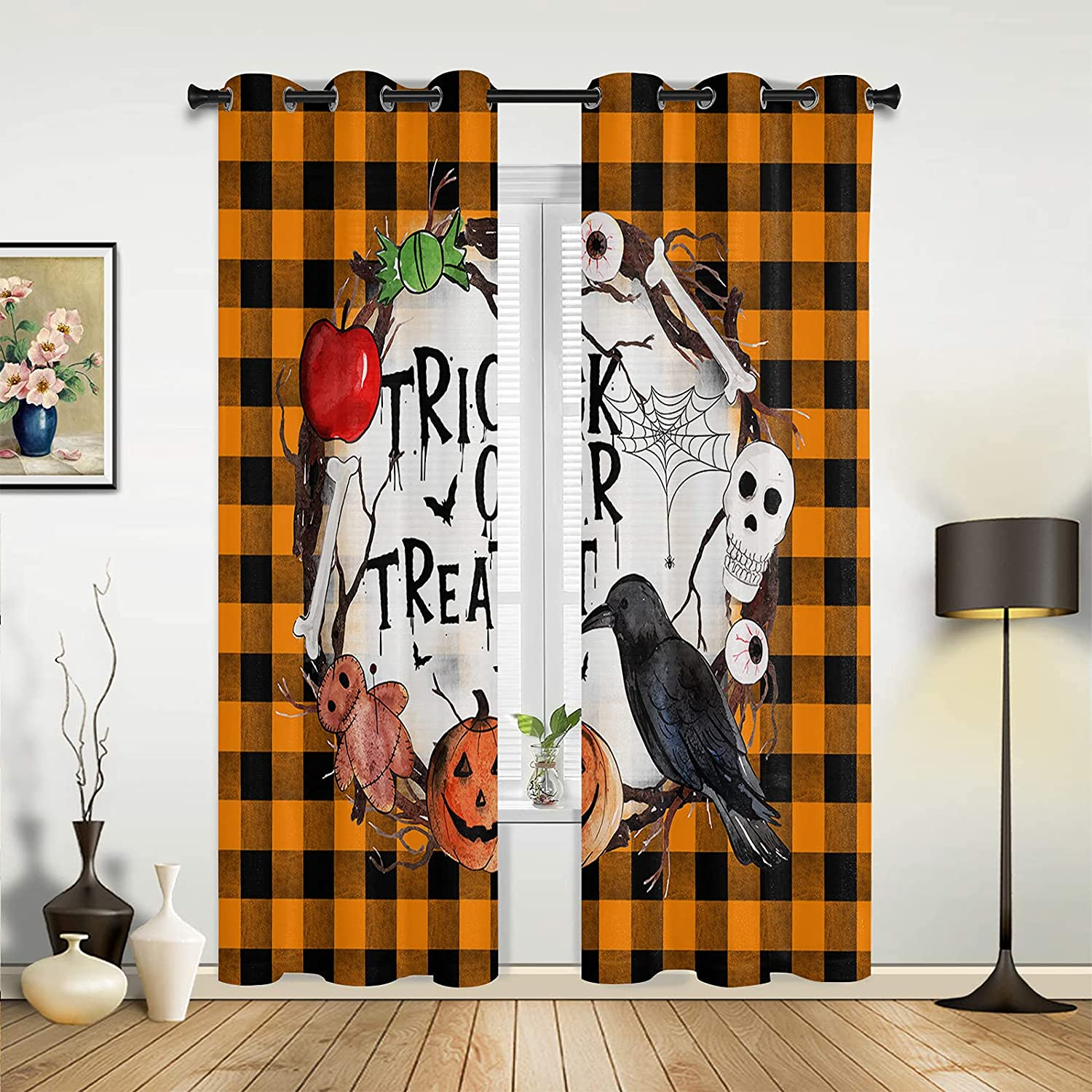 Window Sheer Regular store Curtains for Bedroom specialty shop Living or Hal Treat Trick Room