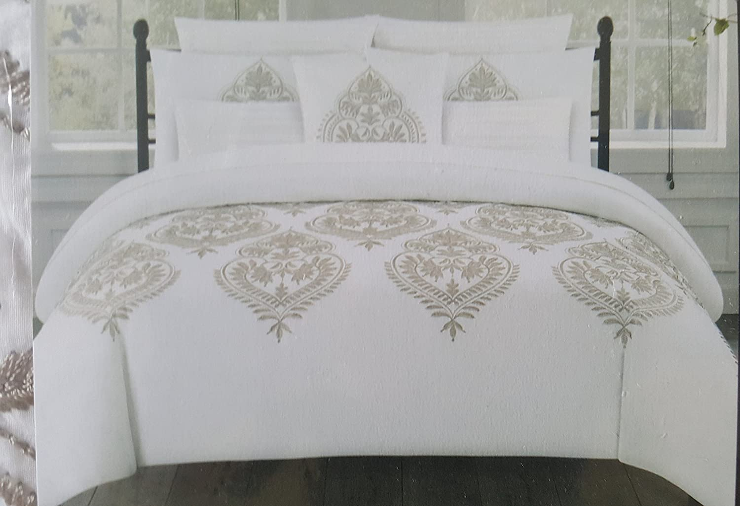 Tahari Home Marossy Embroidered Damask Medallions 3pc King Duvet Cover Set Taupe White