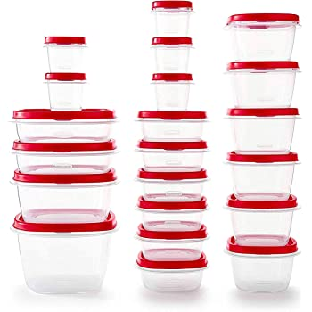 Rubbermaid Easy Find Vented Lids Food Storage Containers, Set of 21 (42 Pieces Total), Racer Red