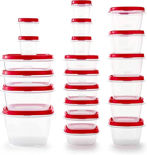 Rubbermaid Easy Find Vented Lids BPA Free Plastic Food Storage Containers, Set of 21 (42 Pieces Total), Racer Red | G...